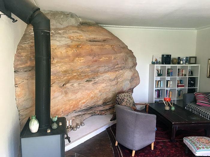 My Living Room Was Built Around A Huge Sandstone Rock
