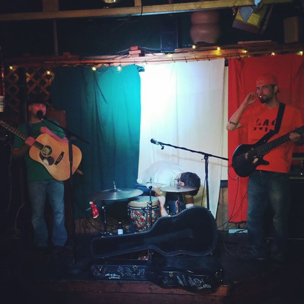 """Played At An Irish Bar Last Night And Accidentally Dressed As The Flag Behind Us. It Was Dubbed """"Camouflage Show"""" By Someone In The Crowd"""