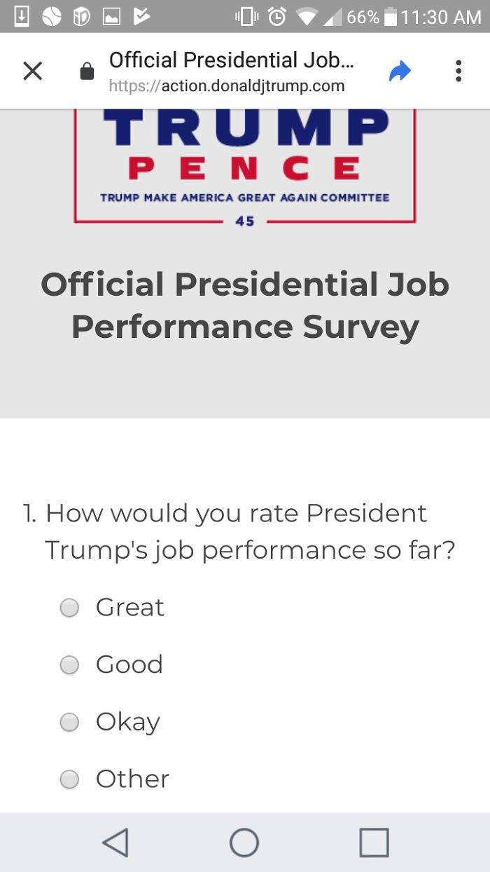 La encuesta oficial de Trump no incluye ninguna opción de respuesta negativa