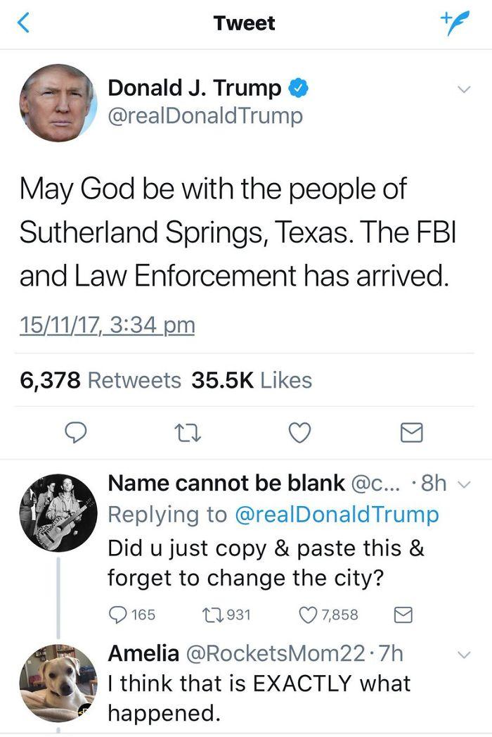 Los tiroteos masivos ahora son tan Frequ ent That President Trump Just Copies-And-Passed Sus condolencias
