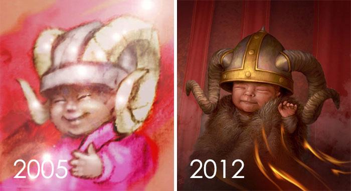 Me inspiré para rehacer Un dibujo que hice hace 7 años para un amigo