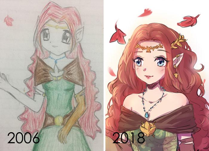 Nunca he vuelto a dibujar realmente una obra de arte mía aunque me encanta verlos de otros artistas. Así que le di un golpe e intenté mantener la postura y la paleta de manera similar. 12 años de diferencia