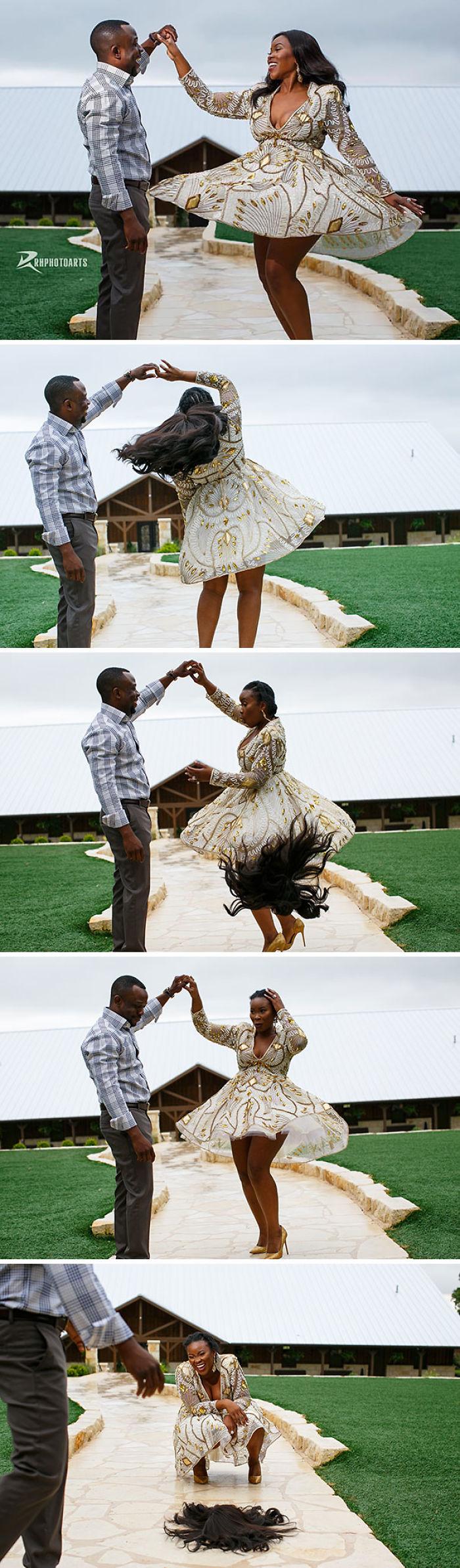 La peluca de la novia se cayó Durante The Engagement Shoot, pero ella era totalmente dueña del momento