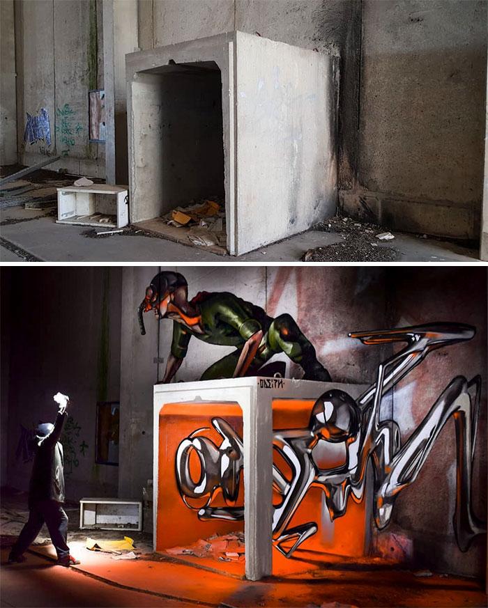Portuguese Street Artist Paints 3d Creature Graffiti And It S Not
