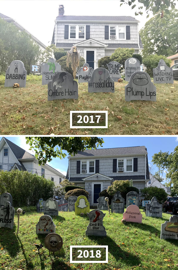 My Neighbor Wins Halloween. Graveyard For Trends That 'Died' In 2017 And 2018