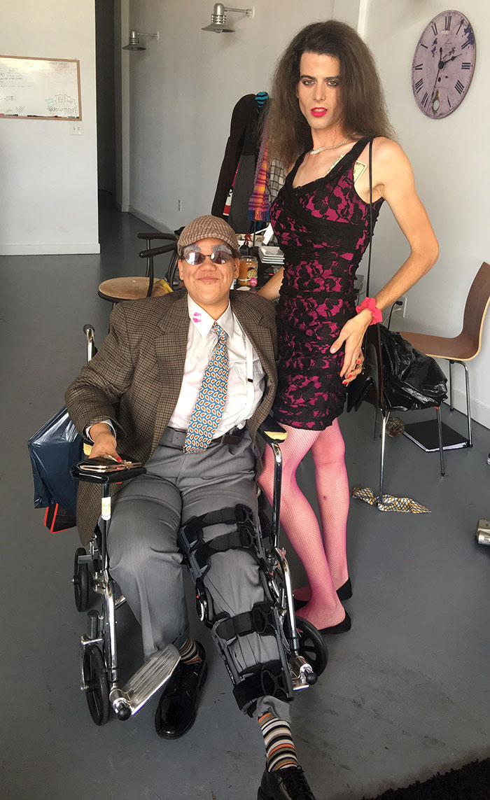 My Friend Tore Her ACL, MCL And Meniscus A Week Ago. She Thought She Wouldn't Be Able To Go Out For Halloween. I Told Her If She Dressed Up As An Old Rich Man, I'd Dress Up As Her Escort And Wheel Her Around Downtown All Night. No Regrets