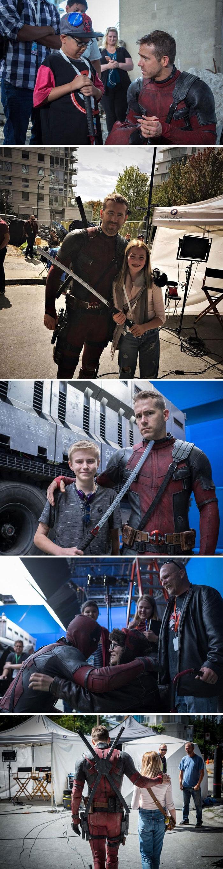 He Niños invitados de la Fundación Make-A-Wish para salir con él en el set de Deadpool