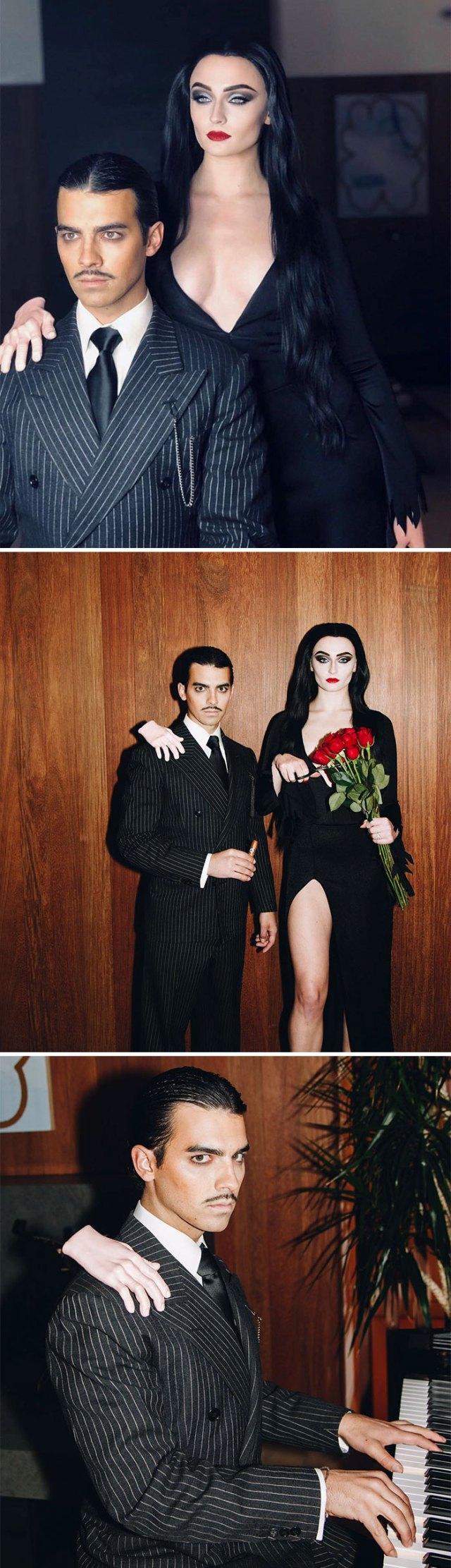 Sophie Turner y Joe Jonas como Morticia y Gomez Addams
