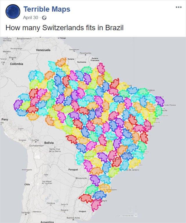 Cuantas Suizas caben en Brasil
