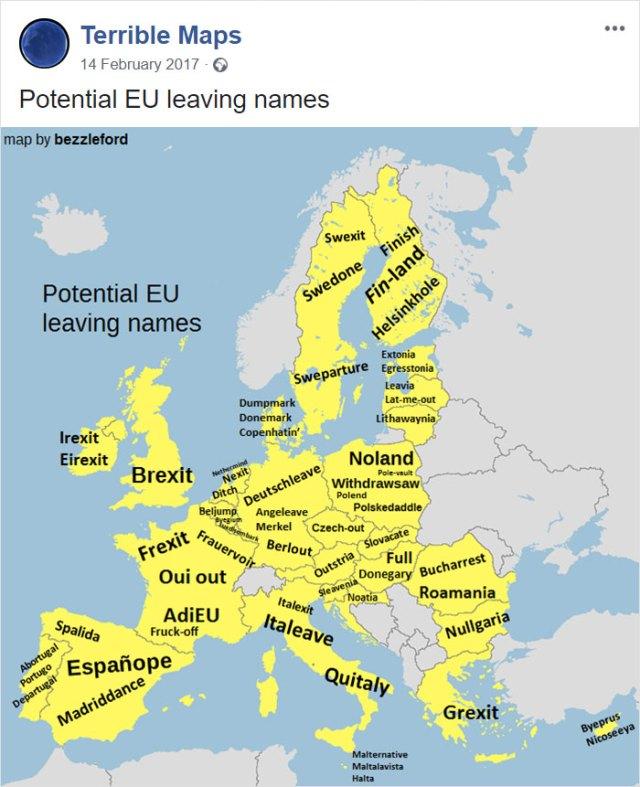 Nombres posibles para cuando estos paises abandonen la EU