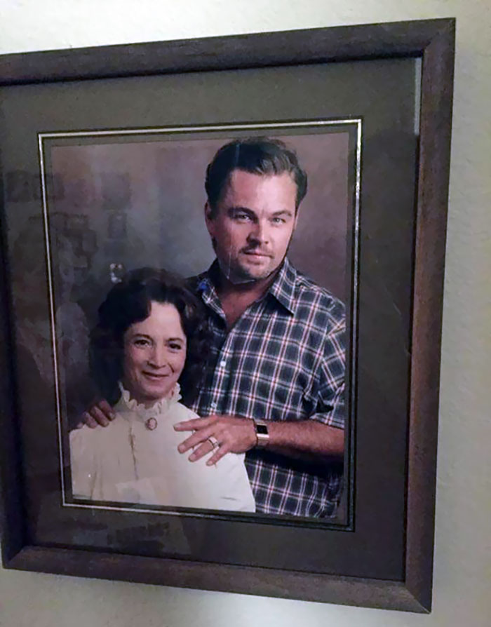 My Friends Grandma's House. She Put A Magazine Cut Out Of Leonardo DiCaprio Over Her Late (Not So Nice) Husband's Face. The 80+ Year Old's Version Of Photoshop