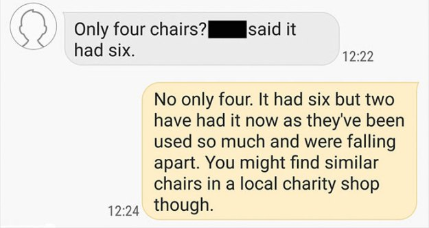 choosing-beggars-table-chairs-conversation-stooby2-3 Guy Who Offered An Old Table For Free Was Asked To Give A New One Instead, And Bring It 180 Miles Design Random