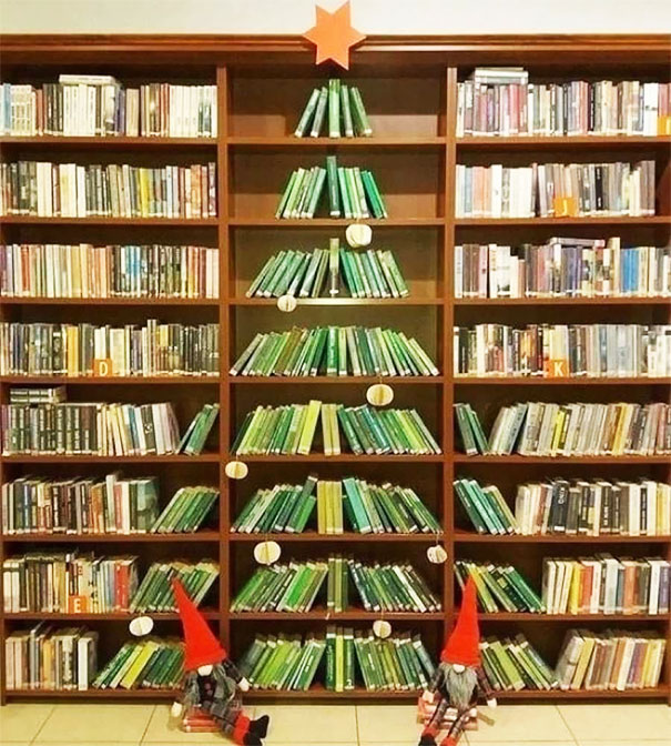 Christmas Tree At A Public Library