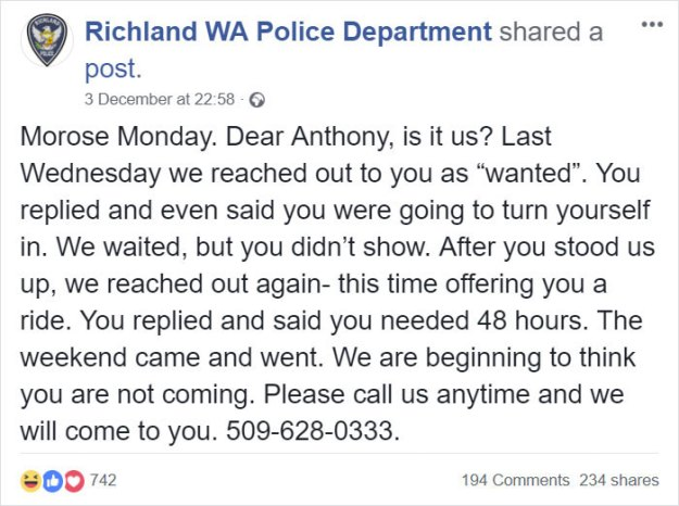 guy-responds-police-wanted-post-anthony-akers-5c08e242eb12c__700 Police Release A 'Wanted' Post On Facebook, The Guy Himself Responds And They Have A Hilarious Conversation Design Random