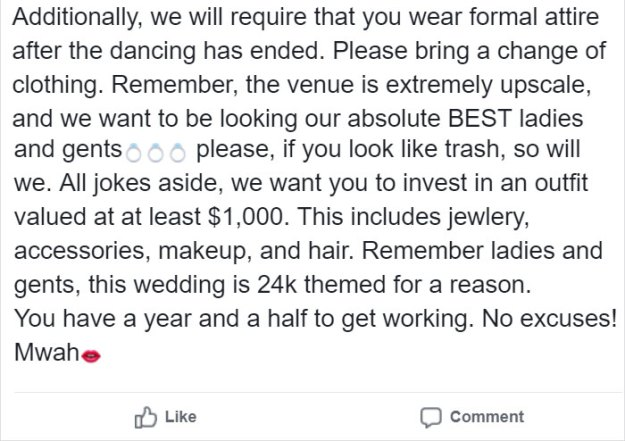 thousand-dollar-wedding-dress-code-invitation-bridezilla-hawaii-14-5c0a33a27680b__700 Brides Asks Guests To Dress Based On Their Weight, Completely Loses It When Someone Shames Her On Reddit Design Random