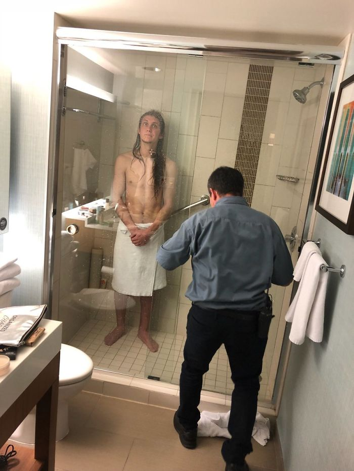 My Buddy Traveled Across The Country To Visit Me Last Weekend. Unfortunately, He Got Stuck In His Hotel Shower For 3 Hours. Shout-Out To Julio For Helping Out A Man In Need