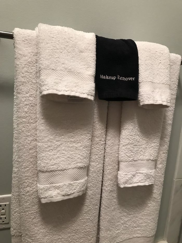 A Black Towel In My Hotel Room For Make-Up So The White Ones Don't Get Stained