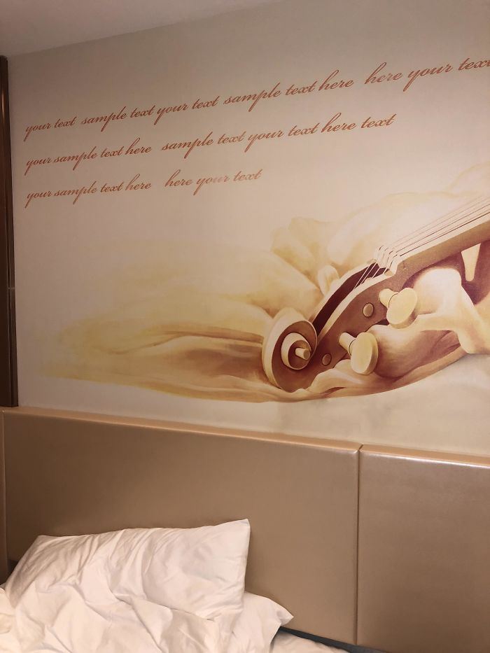 This Hotel Forgot To Insert A Quote Into The Wall Decorations Text Sample