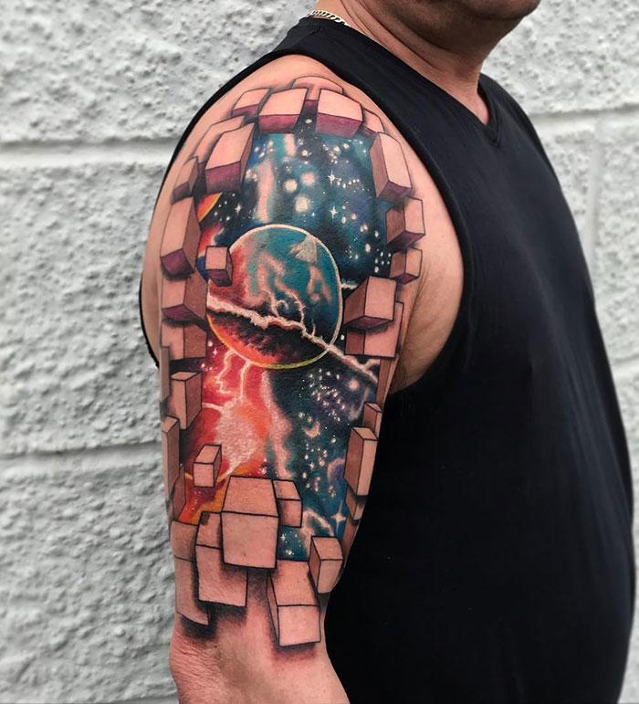 Completely Freehand Flying Perspective Cubes, With Inner Galaxy. And Two Large Cover-UPS Underneath