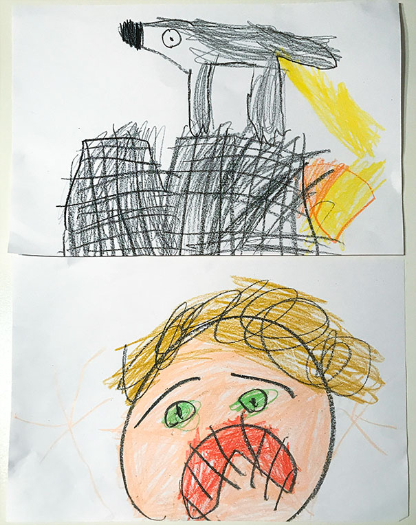 Our Dog Peed On Our New Couch. My 6 Year Old Daughter Documented The Events, Including My Reaction