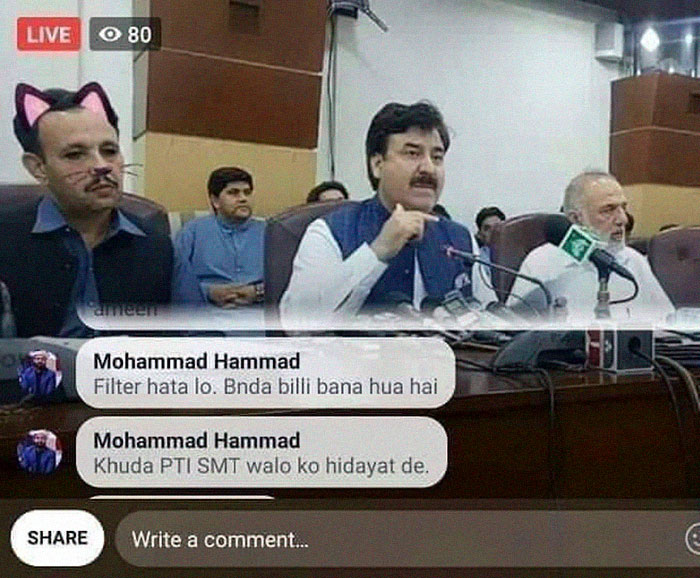 Pakistani Government Officials Accidentally Turn On Cat Filter During Facebook Live, Funny Reactions 3
