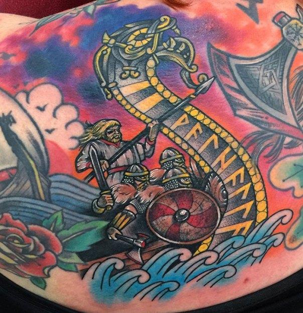 Colorful Viking Tattoo