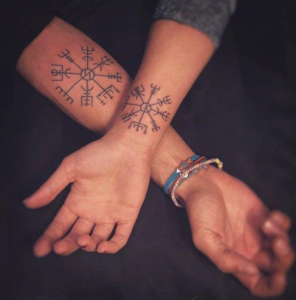 Vegvísir With Each Other's Initials