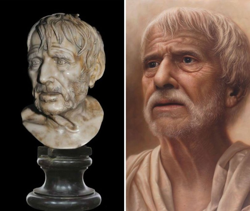 Artist makes hyperrealistic portraits with acrylic painting giving life to busts and antique paintings 5d7641548738c  880 - Parece Real: Pintor sul-coreano faz obras hiper-realistas chocantes!