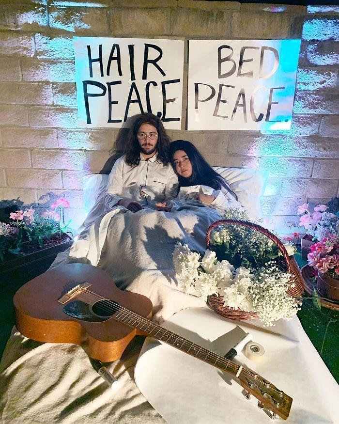 Michael Angarano And Maya Erskine As John Lennon And Yoko Ono
