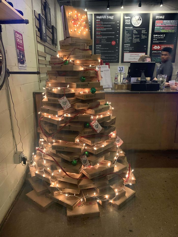 This Pizza Box Christmas Tree At A Local Pizza Shop