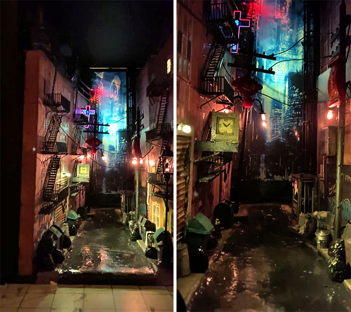 """I Made A Booknook For A Christmas Gift, My Inspiration Was Blade Runner. It's 11"""" X 6"""""""