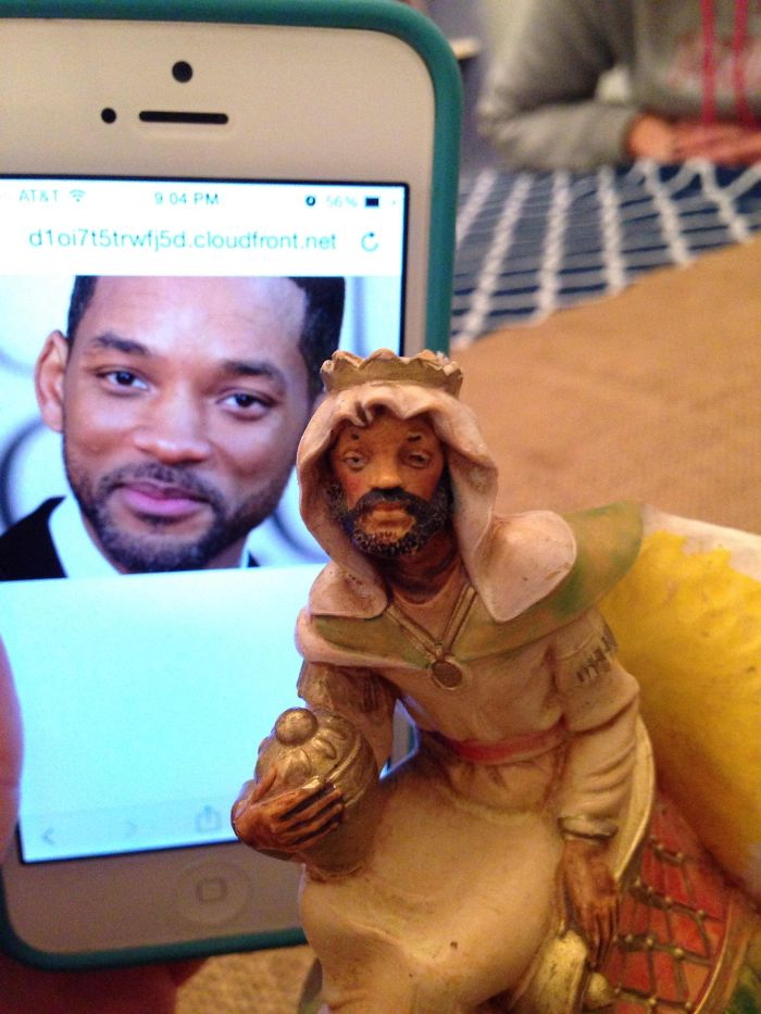 Noticed A Peculiar Resemblance In My Friend's Nativity Scene Today. I Present You, The Fresh Prince Of Bethlehem