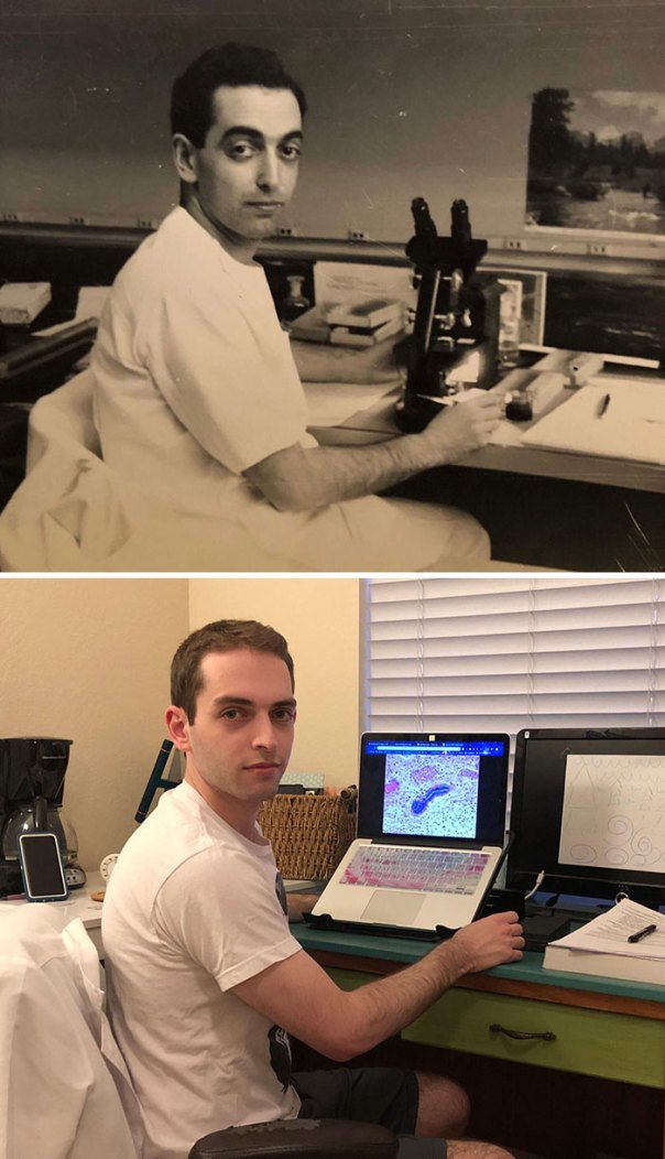 Me And My Grandpa In Medical School 70 Years Apart (Equally Sleep-Deprived)