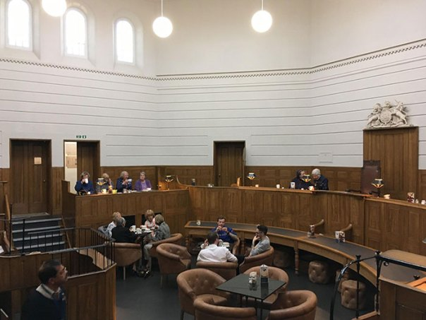 Court Room That's Now A Cafe. Cells Are The Toilets. St. Albans, England