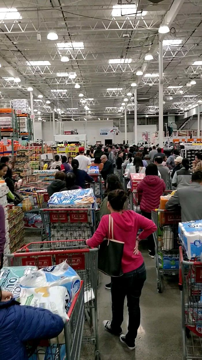 Today's Line As Soon As Costco Opened. People Fighting For Water, Toilet Paper, Rice, And Other Essentials