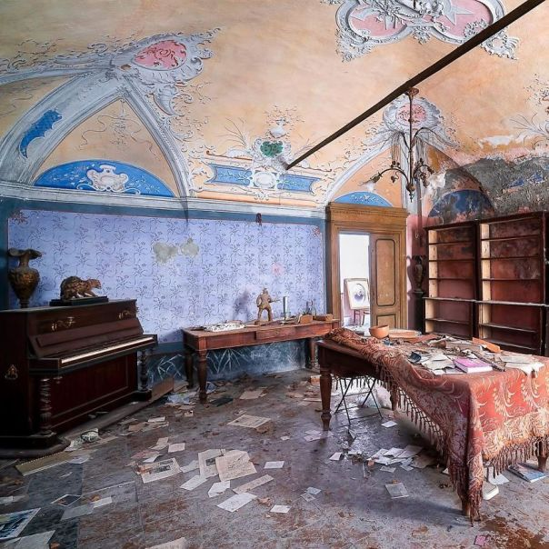 The Living Room Of A Beautiful Abandoned House