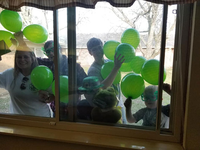 When Great Grandma Turns 93 On St Pattys Day And The Nursing Home Won't Let You In... You Surprise Her At The Window With As Much Green As Possible