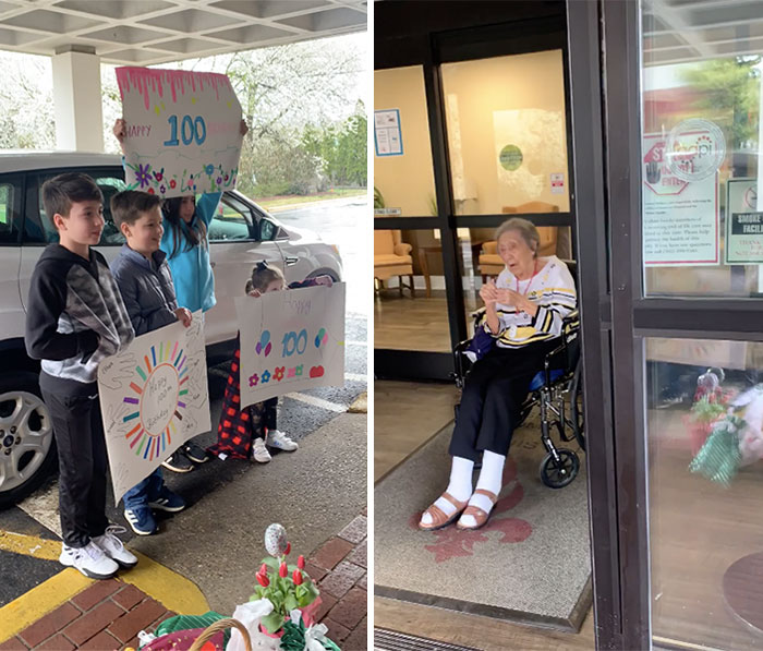 100 Years Old Today And The Nursing Home Is On Coronavirus Lockdown So They Sang To Her From Outside