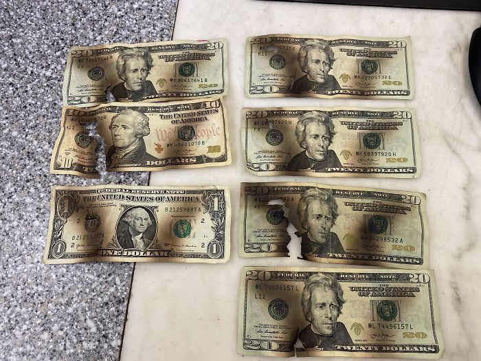 Someone Brought These Bills To The Bank They Tried To Sanitize In A Microwave