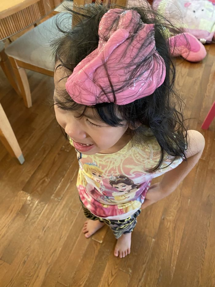 From 1st Day Working At Home. She Got Pink Slime In Her Hair