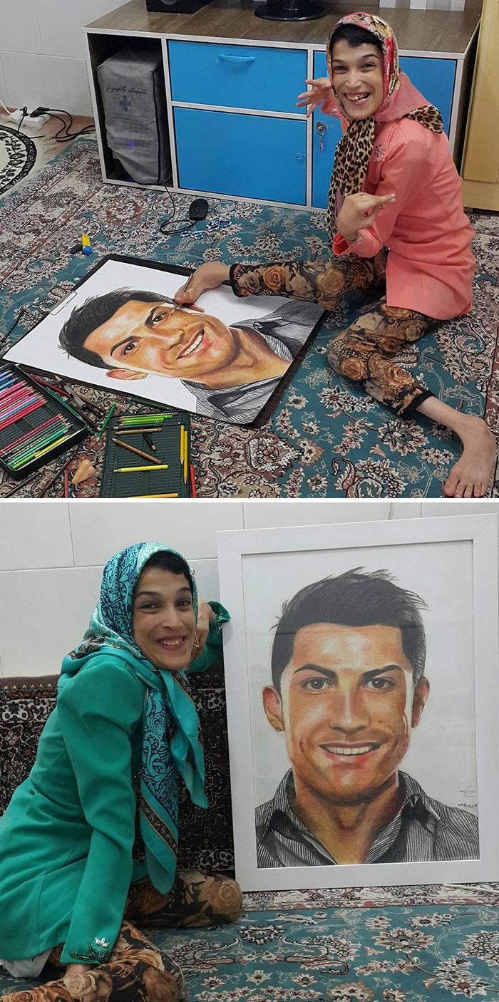 Iranian artist is thrilling the world by painting portraits with his feet 5ea7e408ec664  700 - Você não vai acreditar! Artista desafia a deficiência desenhando com o pé