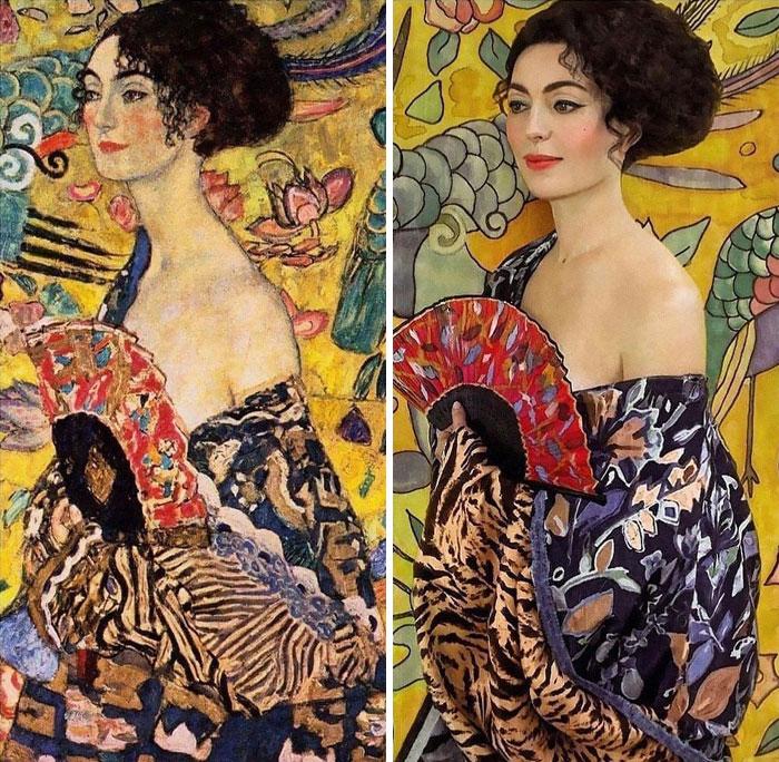 Dama con abanico, de Gustav Klimt