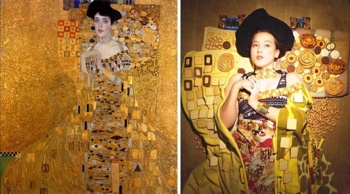 Mujer con galletas en vez de oro, de Klimt