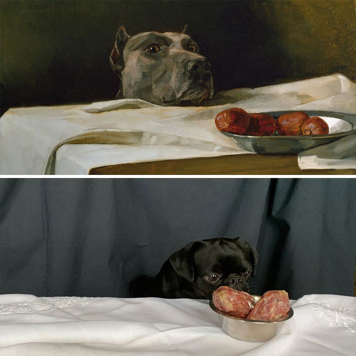 Caesar At The Rubicon (Dog With A Plate Of Sausages) By Wilhelm Trübner vs. Masya At The Rubicon