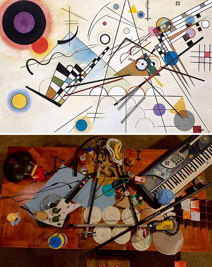 My Friend And I Recreated This Abstract Peice With Items In Our Kitchen/Living Room
