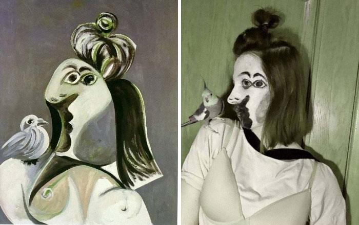 """Recreation Of Pablo Picasso's Painting """"A Women With A Bird"""""""