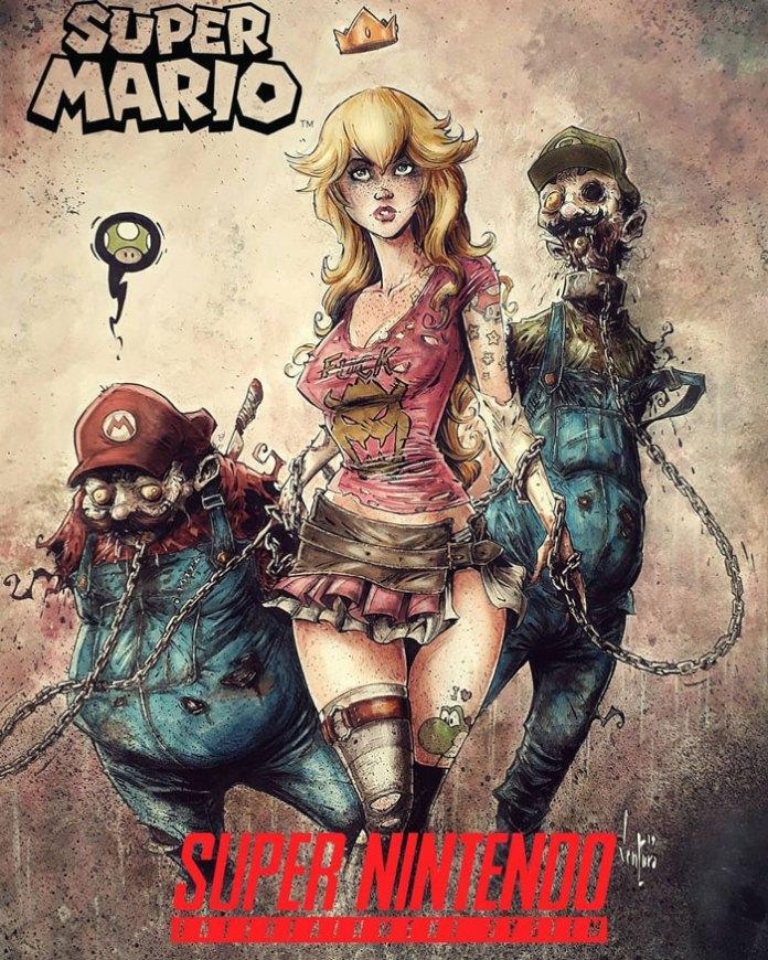 Принцесса Персик и Зомби Марио и Луиджи