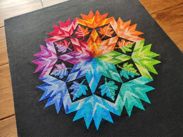 First quarantine project finished. {Pattern: Autumn mandala rainbow by NoussaCreation on Etsy}