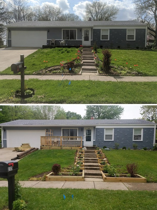 Front yard COVID-19 project, before and after