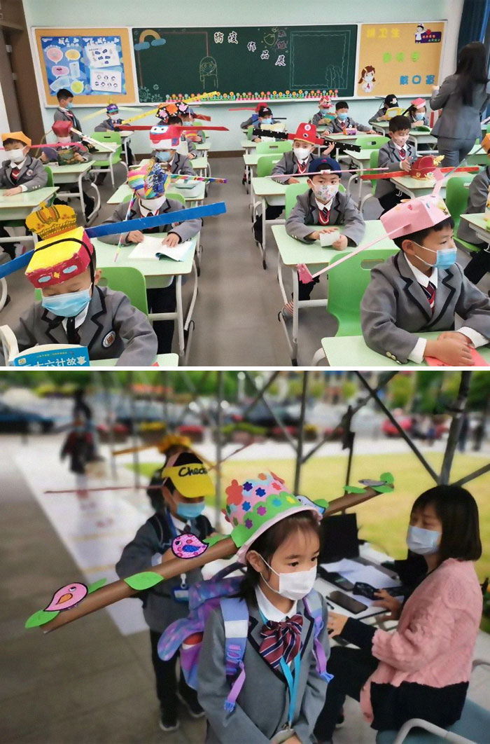 "Students At Yangzheng Primary School In Hangzhou Wear DIY ""One-Meter Hats"" On The First Day Of The New Semester. The Headmaster Said The Initiative Aims To Help Students Get Accustomed To Social"